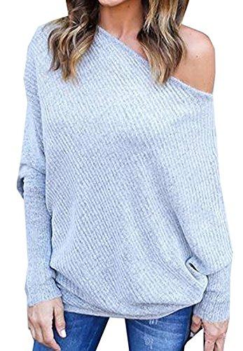 Newlife Donna Maglioni Senza spalline pullover Sexy Maglietta Sciolto Sweatshirt casual Tops Autunno Maglione Grigio