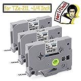 #9: 3-Pack Label Maker Tape Compatible with Brother p touch PT-D210 PT-1290 pt h100 tze Cassette TZe-211 TZ-211, Black on White 0.23 Inch (6mm) x 26.2ft (8m)