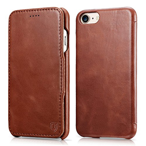 iPhone 7 Case, Benuo [Vintage Classic Series] [Genuine Leather] Folio Flip Corrected Grain Leather Case [Ultra Slim] [Handmade Style] with Magnetic Cl…