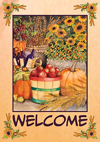 Toland Home Garden Autumn Bounty 28 x 40 Inch Decorative Fall Harvest Welcome Double Sided House - House Fall Flags