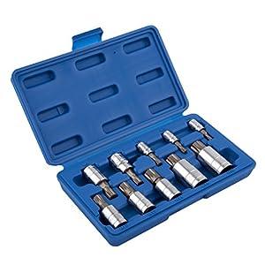Neiko 10056A XZN Triple Square Spline Bit Socket Set, S2 Steel | 10-Piece Set | Metric 4mm – 18mm