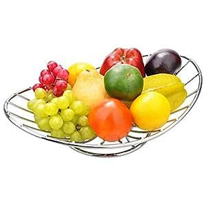 Bowl Shape Fruit Holder Kitchen Rust Resistant Fruit Holder (Chromeplate, Silver)