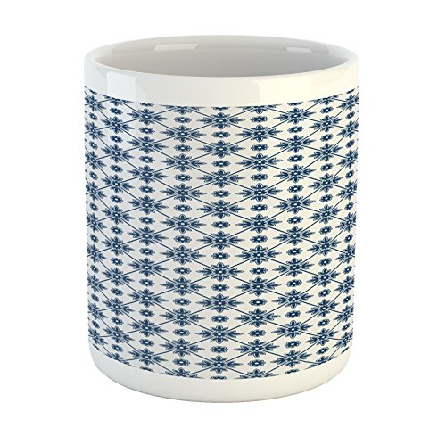 Delft Blue Cup - Ambesonne Dutch Mug, Blooming Floral Pattern with Rhombus Design Historical Dutch Delft Design, Printed Ceramic Coffee Mug Water Tea Drinks Cup, Dark Blue and White