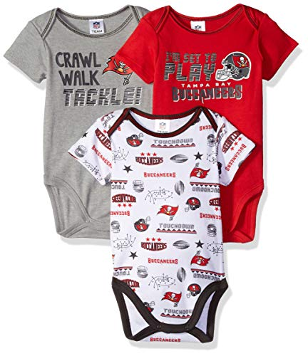 NFL Tampa Bay Buccaneers Unisex-Baby 3-Pack Short Sleeve Bodysuits, Red, 3-6 Months