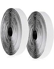 Vegena 10m x 20mm Hook y Loop Bandas Autoadhesivo, 20mm de Ancho, 10m gancho y 10m bucle cinta, de vuelta Auto adhesivo cinta rollo, Cinta de Gancho y Bucle (Negro)