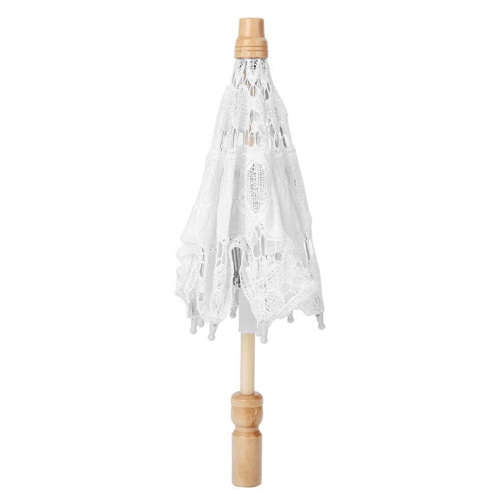 ハンドメイド レース フラワー 刺繍 パラソル ウェディング 花嫁 写真 傘 シルク布素材 S Fditdsb6zo5g4c-02 B07PYGVRK9 ホワイト Small