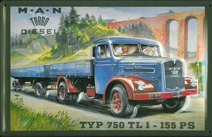 MAN Turbo Diesel tipo 750 TL 1 diseño de escudo de Metal Tin Sign de chapa