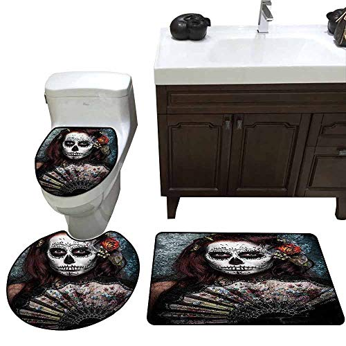 3 Piece Bathroom Rug Set Day of The Dead Decor Make up Artist Girl with Dead Skull Scary Mask Roses Print Customized Rug Set Cadet Blue Maroon]()
