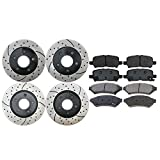 Prime Choice Auto Parts SCD999PR65087 Set of 4 Drilled and Slotted Rotors and 8 Ceramic Brake Pads