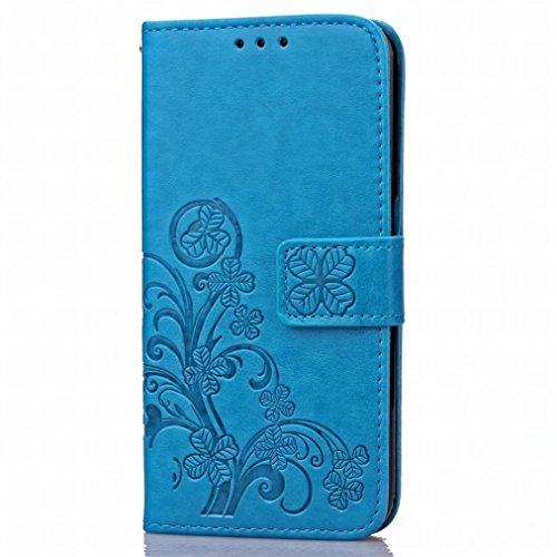 Yiizy Huawei Honor 5X / Honor X5 / GR5 Custodia Cover, Tre Foglia Erba Design Sottile Flip Portafoglio PU Pelle Cuoio Copertura Shell Case Slot Schede Cavalletto Stile Libro Bumper Protettivo Borsa (A