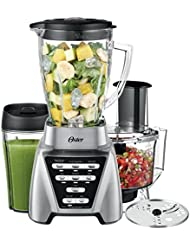 Oster Pro 1200 Blender with Glass Jar plus Smoothie Cup & Food Processor Attachment, Brushed Nickel