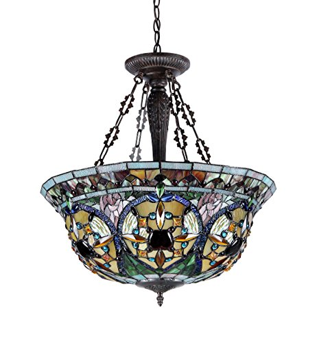 Chloe Lighting Ch33391vg22 Uh3 Tiffany Style Victorian 3 Light Inverted Ceiling Pendant 22 Inch