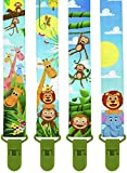 Image of Premium Pacifier Clips by KiddosArt. Set Of 4, 2-Sided Of JUNGLE THEME Art, Stunningly Designed Pacifier Holder, Pacifier Leash, Baby Pacifier Clips for Girls and Boys.