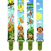 Premium Pacifier Clips by KiddosArt. Set Of 4, 2-Sided Of JUNGLE THEME Art, Stunningly Designed Pacifier Holder, Pacifier Leash, Baby Pacifier Clips for Girls and Boys.