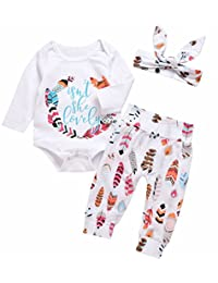 SUPEYA Baby Girls Boys Long Sleeve Feather Print Romper Letter Print Pant Outfits
