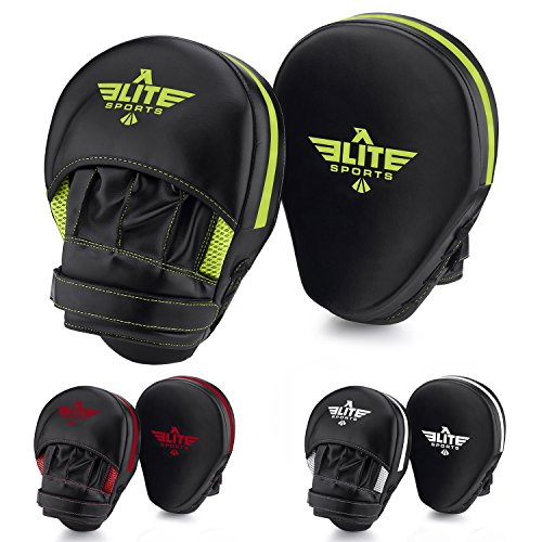 Curved Mitts (Elite Sports New Item Essential Curved Boxing, Mma, Kickboxing, Muay Thai, Sparring Punching Mitts, Green)