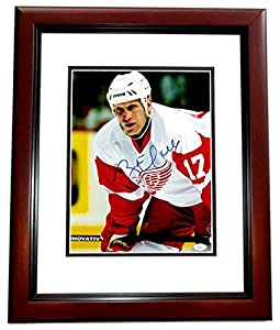 Brett Hull Signed - Autographed Detroit Red Wings 11x14 Photo MAHOGANY CUSTOM FRAME - Flames, Blues, Stars, Coyotes - JSA Certificate of Authenticity