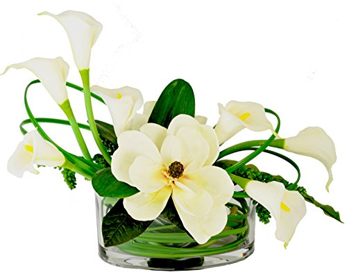 Creative Displays Elegant Magnolia and Calla Lily Arrangement in Oblong Container