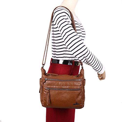 Bag Women Purse Lady with For Pouch Shoulder Wallet Strap Leather Bag Wallet Angelkiss Coffee Crossbody UfnZEt0