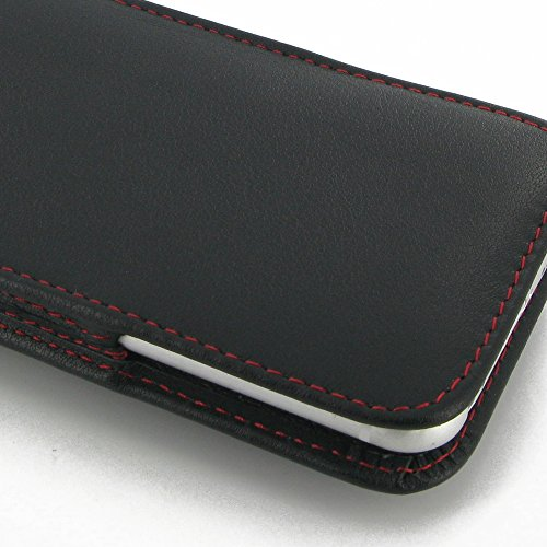 """Apple iPhone 6 (4.7"""") Leather Case / Cover Protective Carrying Phone Case / Cover (Handmade Genuine Leather) - Vertical Pouch Case (NO Belt Clip) (Black/Red Stitchings) by Pdair"""