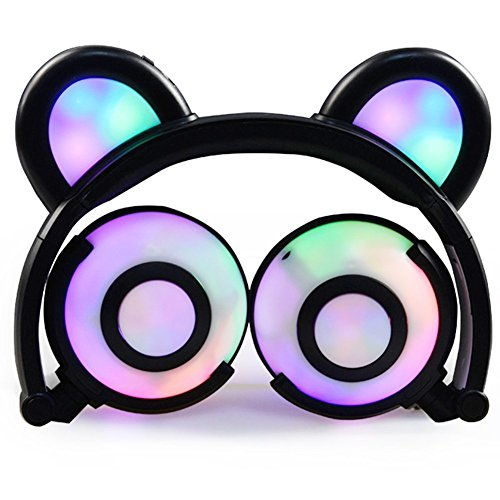 Kids Headphones,Bear Ear Headphones,SNOW WI Flashing Glowing Cosplay Fancy Foldable Over-Ear Gaming Headsets Earphone with LED Flash Light for iPhone 7/6S/iPad,Android Mobile Phone,Macbook (00Black)