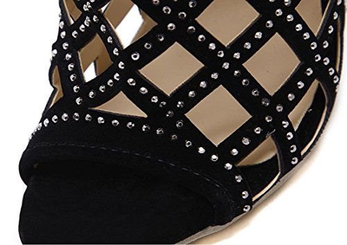 YCMDM Donne 2017 Strass Hollow sandali tacco alto 36 35 38 39 34 37 40 , black , 39
