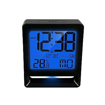 Reloj Despertador Dormilones Pesados Posponer los Relojes de Escritorio Retroiluminación eléctrica Pantalla Digital Grande Temperatura Fecha Luz Nocturna: ...