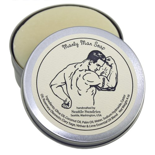 Manly Man Soap-100% Natural  Hand Made. Scented with Essential Oils. Handy Travel Gift Tin. Great For Workout Muscle Lovers.