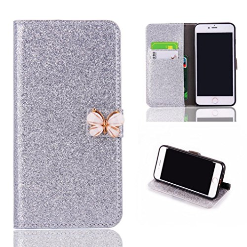 Price comparison product image Stand Wallet Card Case Cover,Elaco Women Iphone Case For iPhone 6/6s 4.7 inch /For iPhone 6 Plus 5.5inch/ iPhone 7 4.7inch/iPhone 7 Plus 5.5inch (Silver, iPhone 6/6s 4.7Inch)