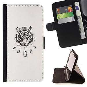 - Queen Pattern FOR Samsung Galaxy Note 4 IV /La identificaci????n del cr????dito ranuras para tarjetas tir????n de la caja Cartera de cuero cubie - tiger vignette sketch art blac