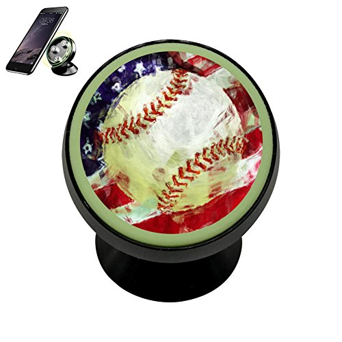 Se50K American Flag Baseball Vehicle Phone Mount Magnetic Phone Car Bracket Holder Noctilucent Mobile Magnets Universal Cell Phone iPhone Kit Gadget