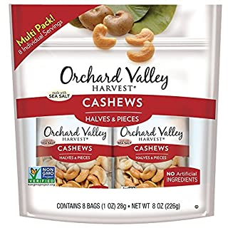 ORCHARD VALLEY HARVEST Cashew Halves & Pieces, Non-GMO, No Artificial Ingredients, 1 oz (Pack of 8)
