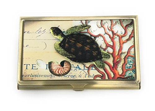 Value Arts Business Card Case Nautical Sea Turtle, Brass and Glass (Valentine Cards Nautical)