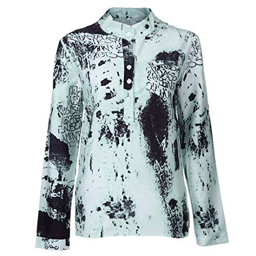 Longues Chemise Debout Grande Mode Col Imprim Casual Taille avec Manche avec Shirts Automne Costume Button Elgante Manches Gr Femme Shirt Chic Printemps Tops Blouse Longue Vintage xxg6Rq7