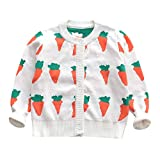 Outtop(TM) Baby Long Sleeve Toddler Infants Kids Girls Carrot Print Knit Cardigan Kid Outwear Clothes (5T(4~5years), White)