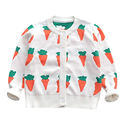 Londony ♪❤ Clearance Sales,Infant Toddler Baby Girls Fleece Jacket Cartoon Long Sleeve Carrot Print Cardigan Sweater