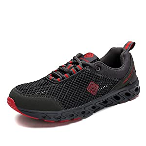 Dream Pairs Men's 160712-2-M Grey Red Athletic Slip On Water Shoes - 9.5 M US