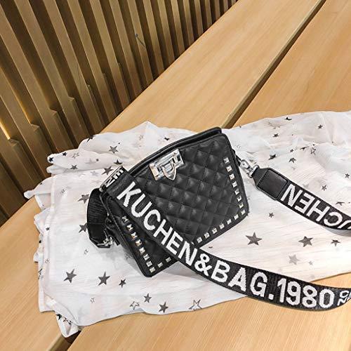 21 Tout Sac Épaule Croix Sac De Mode Boucle Ligne Broderie Sangle Verrouillage Rivet Couleur Fourre Diagonale cm Large Sac Noir Femmes Épaule 10 19 U6qwdvwT