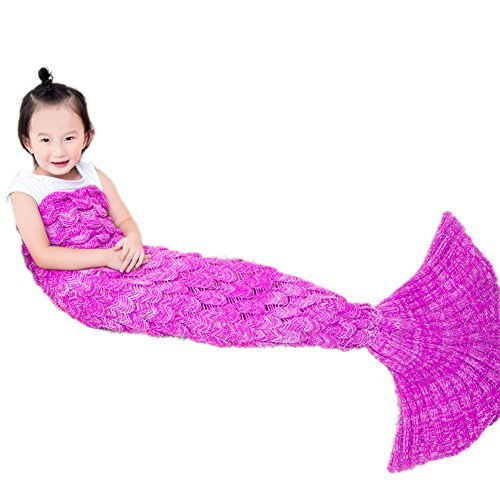 Scaly Mermaid Tail Blanket Girls Dressing Up Toys Handmade Knitted Living Room Sofa Throws Perfect Birthday gifts for any Girls 55.18 inch x 27.56 inch (Scaly-Kids-Bright Pink)