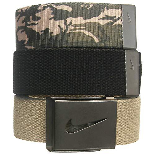Nike Men's 3 Pack Web Belt, Cargo camo/Khaki/Black, One Size