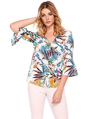 ccd188625 Zeagoo Women's Casual Tropical Shirts Bell Sleeve Floral Print V neck Blouse  Top