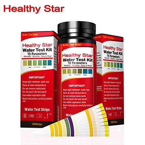 Healthy Star 15 in 1 water test kit 100ct,test for drinking water, aquarium,Pool & Spa;best Kit for Accurate Water Quality Testing,Instant Results -PH - Free Chlorine - Total Hardness + More by Healthy Star