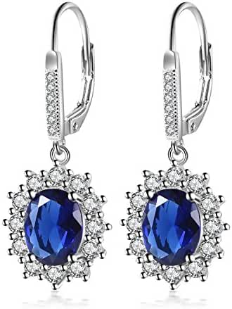YAXING 925 Sterling Silver Snowflake Flower Blue Sapphire &White Cz Leverback Dangle Earring