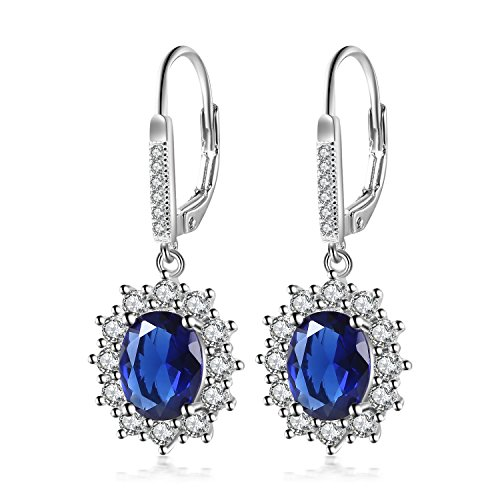 Vancleef Costume (YAXING 925 Sterling Silver Snowflake Flower Blue Sapphire &White Cz Leverback Dangle Earring (Sapphire Earring))