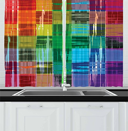 Ambesonne Vintage Rainbow Kitchen Curtains, Plaid Art Pattern with Abstract Colorful Squares and Paint Smears Design, Window Drapes 2 Panel Set for Kitchen Cafe, 55 W X 39 L Inches, Rainbow Colors