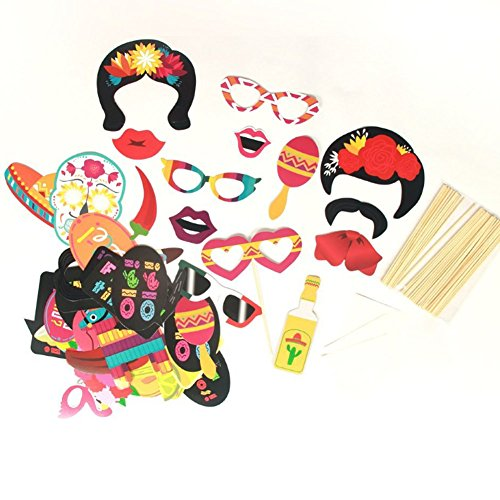 Photo Booth Props Diy Fiesta Party Supplies Mexican Carnival Souvenirs for Adults Wedding Kids Birthday Women Girls Beach Theme (Creative Party Themes For Adults)