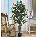 Nearly Natural 5299 Ficus Silk Tree, 4-Feet, Green