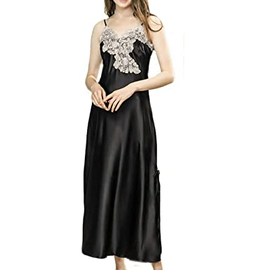 daad2c1d9f0e MSOO New Women Simulation Silk Pajamas Sexy Lace Lingerie Bride Nightdress  Sleepwear (M