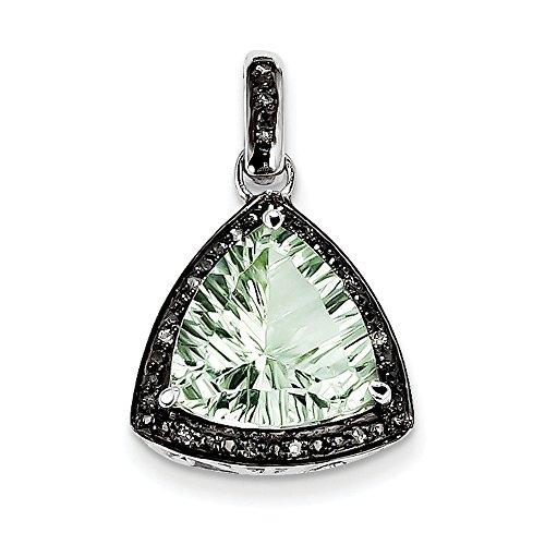 En argent sterling Pendentif diamant et quartz vert