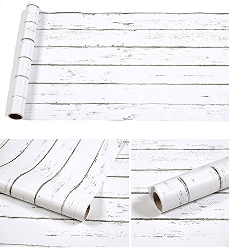 Amao Vintage White Wood Panel Pattern Contact Paper Self-adhesive Peel-stick Wallpaper17.7''x78.7'' by Amao